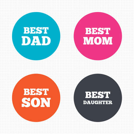 dad and son: Circle buttons. Best mom and dad, son and daughter icons. Award symbols. Seamless squares texture. Vector Illustration