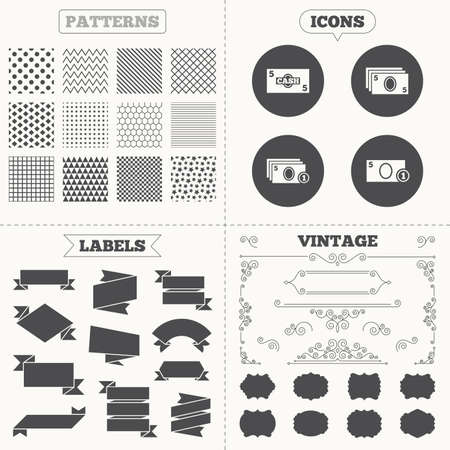 withdrawals: Seamless patterns. Sale tags labels. Businessman case icons. Currency with coins sign symbols. Vintage decoration. Vector Illustration