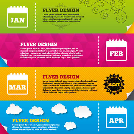 Flyer brochure designs. Calendar icons. January, February, March and April month symbols. Date or event reminder sign. Frame design templates. Vector Illustration