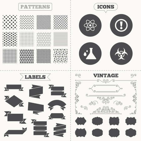caution chemistry: Seamless patterns. Sale tags labels. Attention and biohazard icons. Chemistry flask sign. Atom symbol. Vintage decoration. Vector Illustration