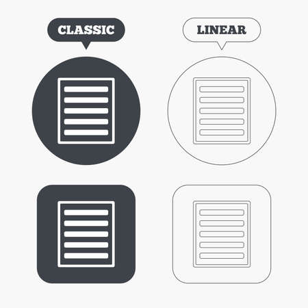the view option: List sign icon. Content view option symbol. Classic and line web buttons. Circles and squares. Vector Illustration