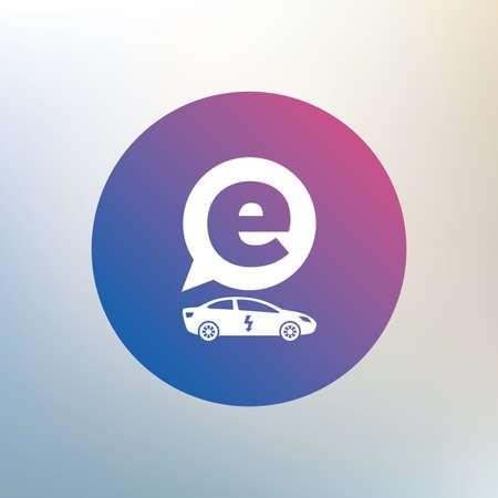 electric vehicle: Auto elettrica icona segno. Sedan simbolo saloon. Trasporto del veicolo elettrico. Icona su sfondo sfocato. Vettore Vettoriali