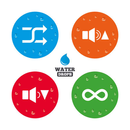 quieter: Water drops on button. Player control icons. Sound louder and quieter signs. Dynamic symbol. Shuffle random and repeat loop. Realistic pure raindrops on circles. Vector