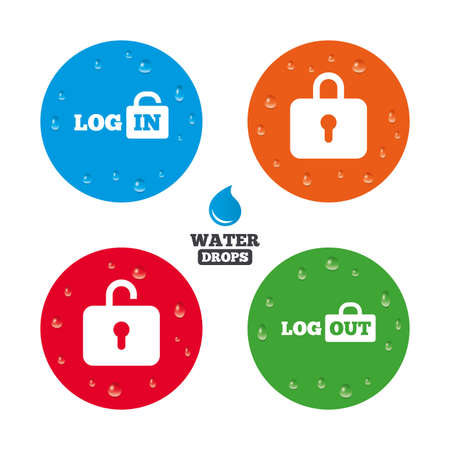 sign out: Water drops on button. Login and Logout icons. Sign in or Sign out symbols. Lock icon. Realistic pure raindrops on circles. Vector Illustration