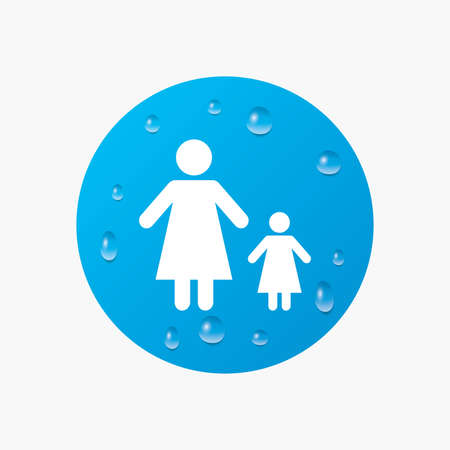 family with one child: Water drops on button. One-parent family with one child sign icon. Mother with daughter symbol. Realistic pure raindrops. Blue circle. Vector Illustration