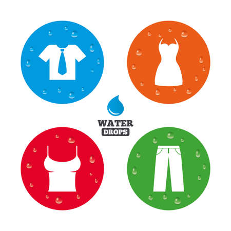 Wassertropfen auf der Taste. Kleidung Symbole. T-Shirt mit Geschäfts Krawatte und Hose Zeichen. Frauen kleiden Symbol. Realistische pure regentropfen auf Kreise. Vektor Standard-Bild - 42480678