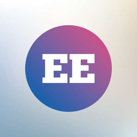 ee: Estonian language sign icon. EE translation symbol. Icon on blurred background. Vector