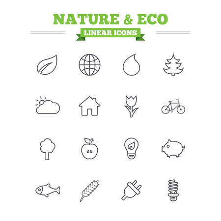 lamp outline: Nature and Eco linear icons set. Trees, leaf and tulip or rose flower. Planet and water drop. Energy saving lamp, electric plug and house building. Thin outline signs. Flat vector