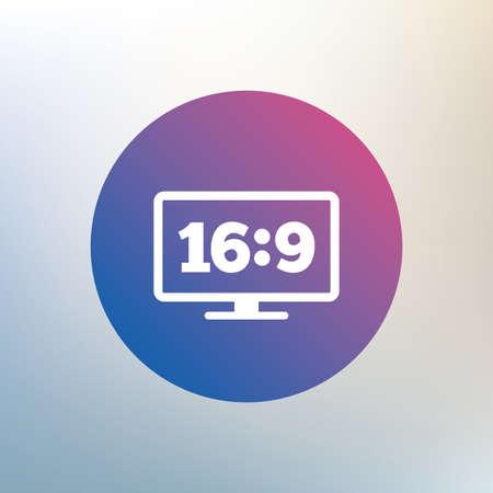 aspect: Aspect ratio 16:9 widescreen tv sign icon. Monitor symbol. Icon on blurred background. Vector Illustration