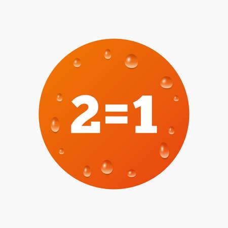 equals: Wassertropfen auf der Taste. Zwei f�r einen Zeichen-Symbol. Nehmen Sie zwei Lohn f�r einen Verkauf-Taste. 2 gleich 1. Realistische reine Regentropfen. Orange Kreis. Vektor