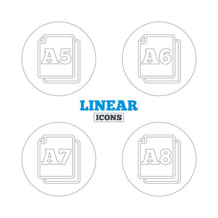 a7: Paper size standard icons. Document symbols. A5, A6, A7 and A8 page signs. Linear outline web icons. Vector Illustration