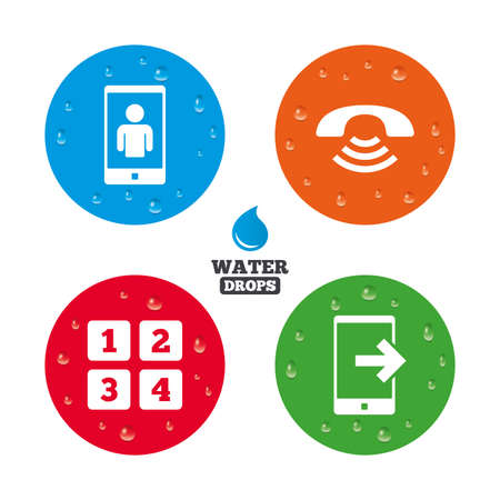 Water drops on button. Phone icons. Smartphone video call sign. Call center support symbol. Cellphone keyboard symbol. Realistic pure raindrops on circles. Vector Ilustracja