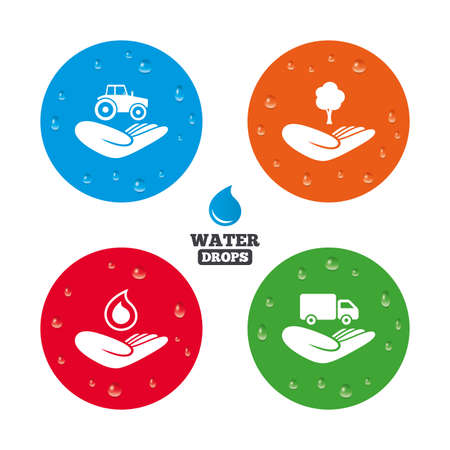 button icons: Water drops on button. Helping hands icons. Agricultural tractor insurance symbol. Delivery truck sign. Save nature forest. Water drop. Realistic pure raindrops on circles. Vector