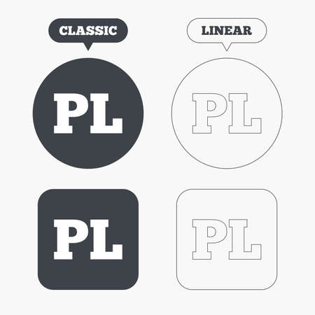 pl: Polish language sign icon. PL translation symbol. Classic and line web buttons. Circles and squares. Vector Illustration