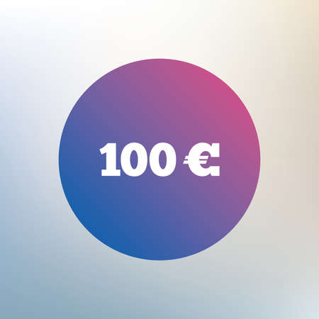 eur: 100 Euro sign icon. EUR currency symbol. Money label. Icon on blurred background. Vector