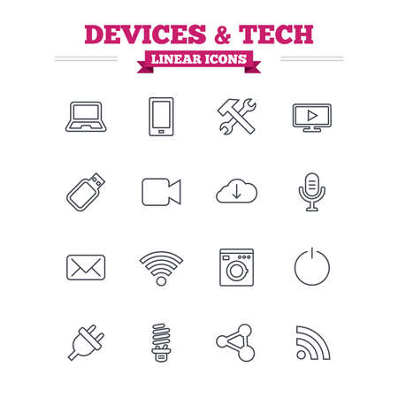 Devices and technologies linear icons set. Notebook, smartphone and wi-fi symbols. Usb flash, video camera, microphone thin outline signs. Washing machine, fluorescent lamp and electric plug. Flat vector