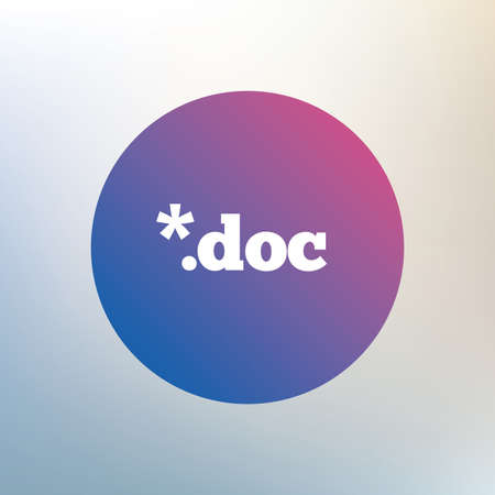 file extension: File document icon. Download doc button. Doc file extension symbol. Icon on blurred background. Vector