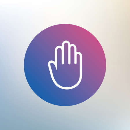 give me five: Hand sign icon. No Entry or stop symbol. Give me five. Icon on blurred background. Vector