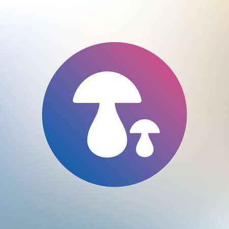 button mushroom: Mushroom sign icon. Boletus mushroom symbol. Icon on blurred background. Vector