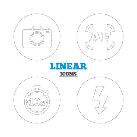 autofocus: Photo camera icon. Flash light and autofocus AF symbols. Stopwatch timer 10 seconds sign. Linear outline web icons. Vector Illustration