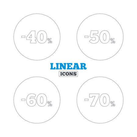 50 60: Sale discount icons. Special offer price signs. 40, 50, 60 and 70 percent off reduction symbols. Linear outline web icons. Vector Vectores