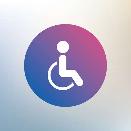 invalid: Disabled sign icon. Human on wheelchair symbol. Handicapped invalid sign. Icon on blurred background. Vector
