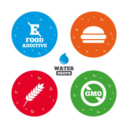 stabilizers: Water drops on button. Food additive icon. Hamburger fast food sign. Gluten free and No GMO symbols. Without E acid stabilizers. Realistic pure raindrops on circles. Vector