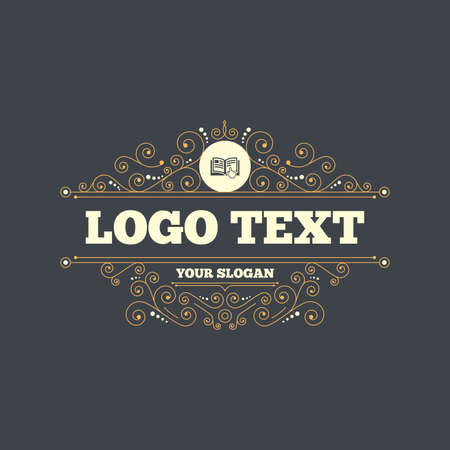 instru��o: Instruction sign icon. Manual book symbol. Read before use. Flourishes calligraphic ornament. Vector