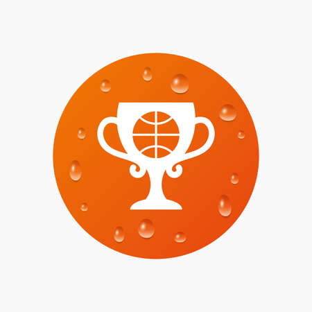 Water drops on button. Basketball sign icon. Sport symbol. Winner award cup. Realistic pure raindrops. Orange circle. Vector