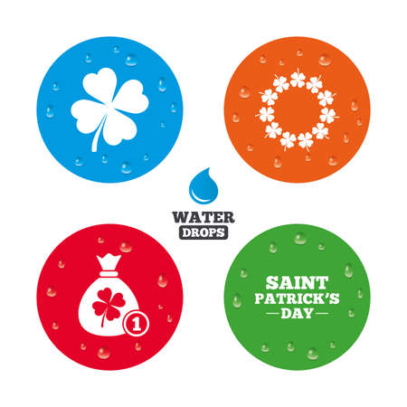 quatrefoil: Water drops on button. Saint Patrick day icons. Money bag with coin and clover sign. Wreath of quatrefoil clovers. Symbol of good luck. Realistic pure raindrops on circles. Vector Illustration