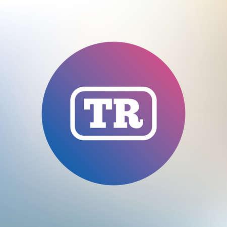 tr: Turkish language sign icon. TR Turkey translation symbol with frame. Icon on blurred background. Vector Illustration