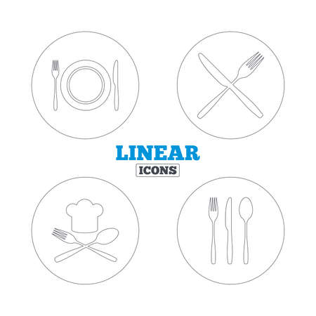 etiquette: Plate dish with forks and knifes icons. Chief hat sign. Crosswise cutlery symbol. Dining etiquette. Linear outline web icons. Vector