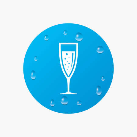champagne celebration: Water drops on button. Glass of champagne sign icon. Sparkling wine with bubbles. Celebration or banquet alcohol drink symbol. Realistic pure raindrops. Blue circle. Vector