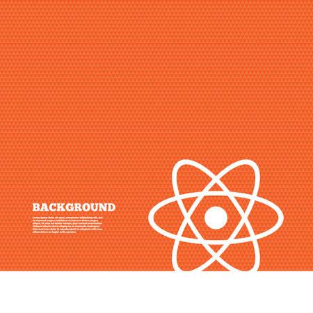 orange texture: Background with seamless pattern. Atom sign icon. Atom part symbol. Triangles orange texture. Vector
