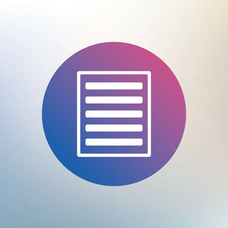 the view option: List sign icon. Content view option symbol. Icon on blurred background. Vector Illustration