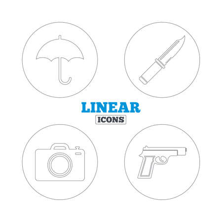 edged: Gun weapon icon.Knife, umbrella and photo camera signs. Edged hunting equipment. Prohibition objects. Linear outline web icons. Vector