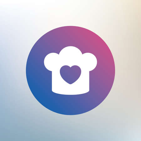 love icon: Chef hat sign icon. Cooking symbol. Cooks hat with heart love. Icon on blurred background. Vector Illustration