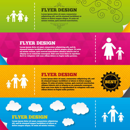 family with two children: Flyer brochure designs. Family with two children icon. Parents and kids symbols. One-parent family signs. Mother and father divorce. Frame design templates. Vector Illustration