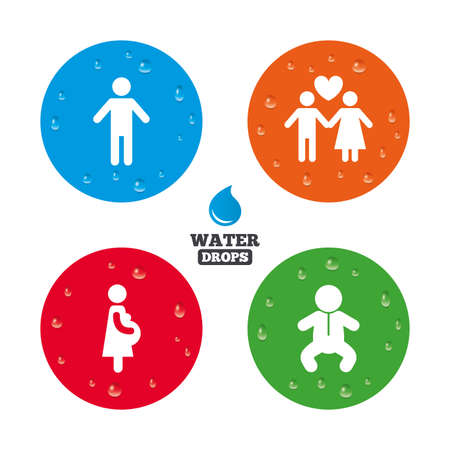 water birth: Water drops on button. Family lifetime icons. Couple love, pregnancy and birth of a child symbols. Human male person sign. Realistic pure raindrops on circles. Vector Illustration