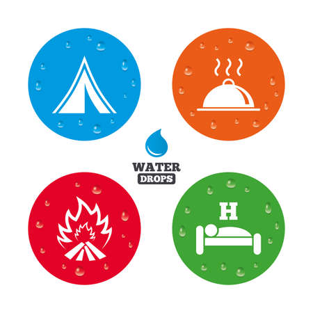 breakfast in bed: Water drops on button. Hot food, sleep, camping tent and fire icons. Hotel or bed and breakfast. Road signs. Realistic pure raindrops on circles. Vector Illustration