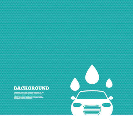automated: Background with seamless pattern. Car wash icon. Automated teller carwash symbol. Water drops signs. Triangles green texture. Vector