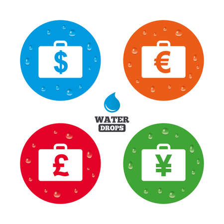 diplomat: Water drops on button. Businessman case icons. Cash money diplomat signs. Dollar, euro and pound symbols. Realistic pure raindrops on circles. Vector Illustration