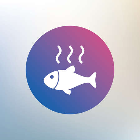 fry: Fish hot sign icon. Cook or fry fish symbol. Icon on blurred background. Vector Illustration