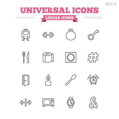Universal linear icons set. Fitness dumbbell, home key and candle. Toilet paper, knife and fork. Microwave oven. Thin outline signs. Flat vector