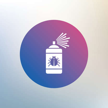 acarus: Bug disinfection sign icon. Fumigation symbol. Bug sprayer. Icon on blurred background. Vector