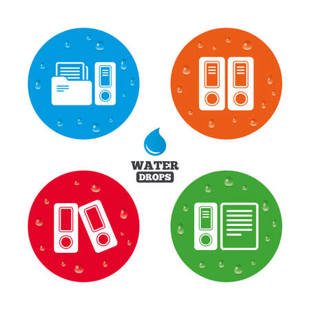 auditing: Water drops on button. Accounting icons. Document storage in folders sign symbols. Realistic pure raindrops on circles. Vector