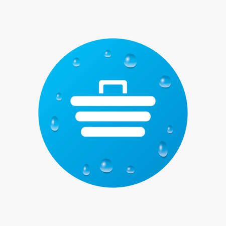Water drops on button. Shopping Cart sign icon. Online buying button. Realistic pure raindrops. Blue circle. Vector Illustration
