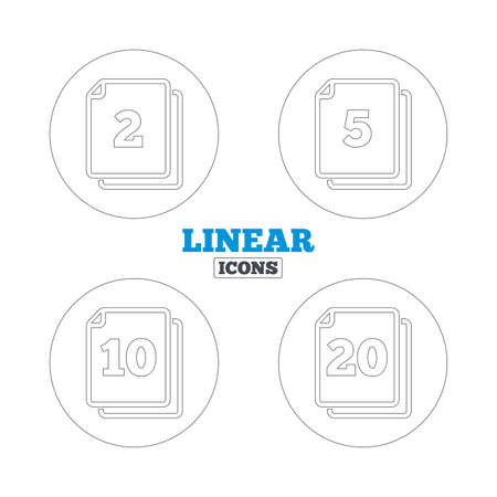quantity: In pack sheets icons. Quantity per package symbols. 2, 5, 10 and 20 paper units in the pack signs. Linear outline web icons. Vector Illustration