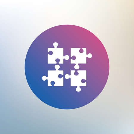 ingenuity: Puzzles pieces sign icon. Strategy symbol. Ingenuity test game. Icon on blurred background. Vector Illustration