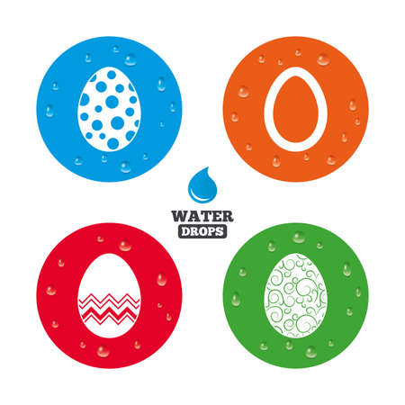 pasch: Water drops on button. Easter eggs icons. Circles and floral patterns symbols. Tradition Pasch signs. Realistic pure raindrops on circles. Vector Illustration